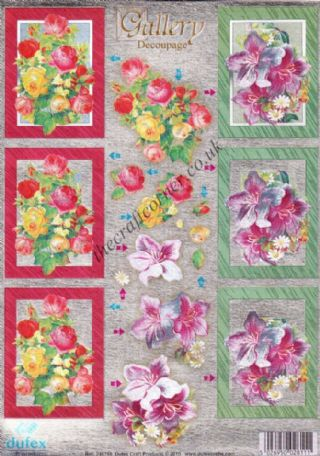 Rose & Lilly Flowers Die Cut 3d Decoupage Sheet From Dufex